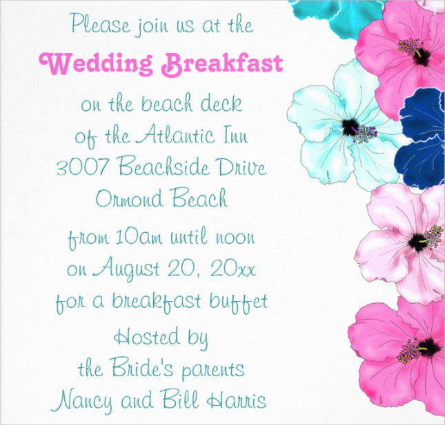 wedding breakfast party invitation