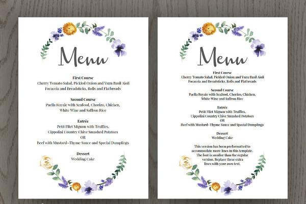 wedding buffet menu card1