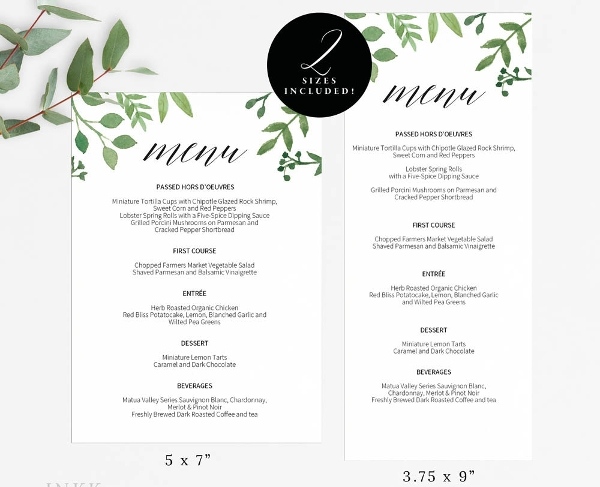 buffet menu templates