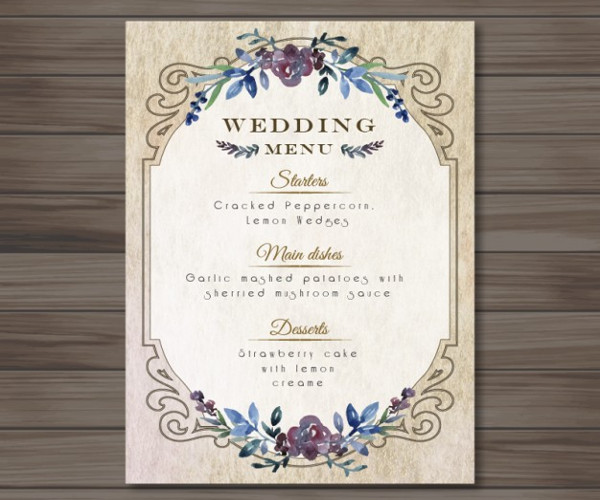 wedding menu template design