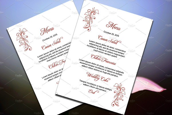 wedding party psd menu design