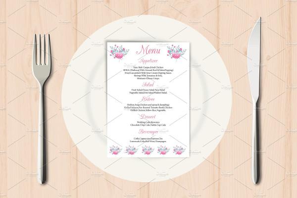 wedding reception party menu