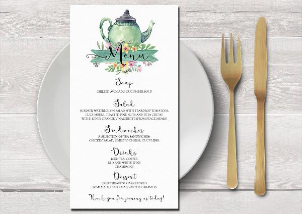wedding tea party menu