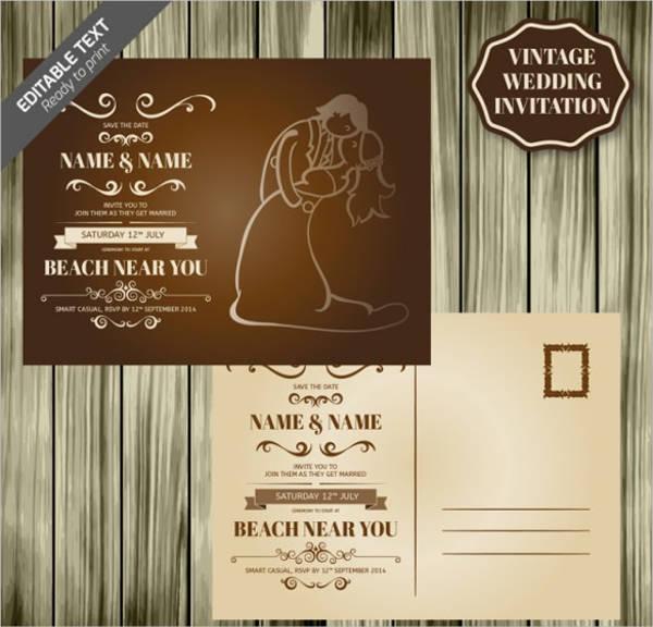 wood design retro wedding card