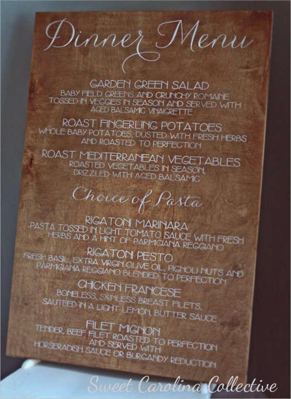 wooden dinner menu template