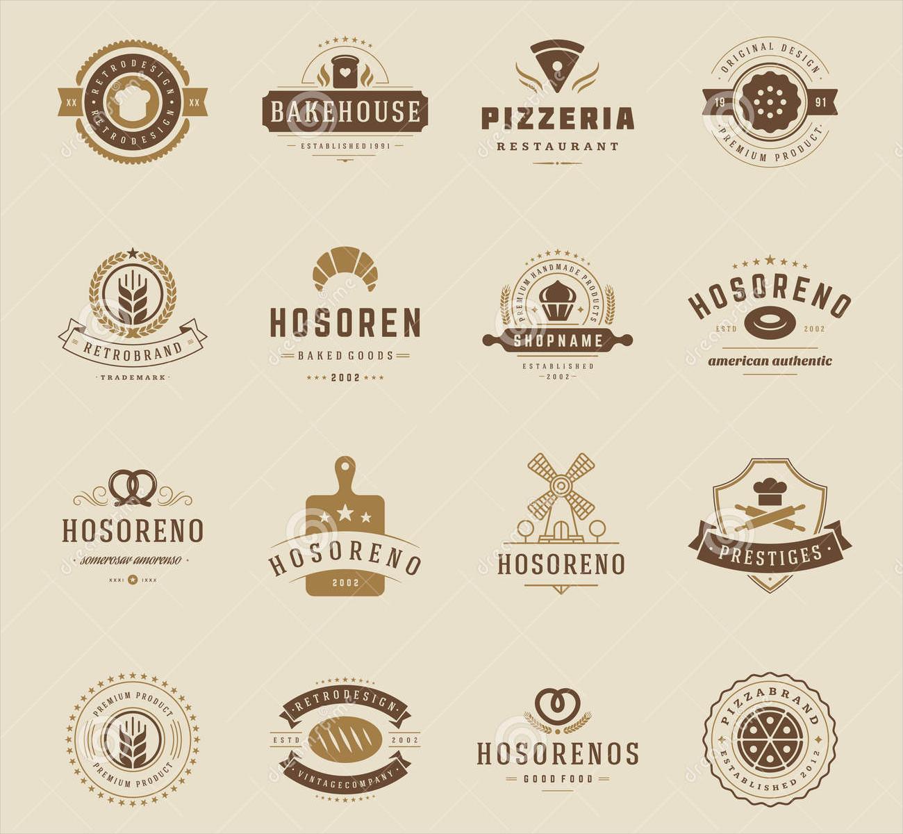 bakery logos badges
