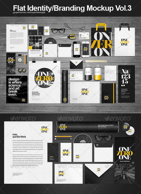 flat identity branding mock up template