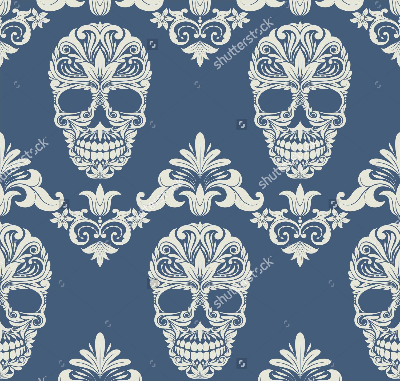 skull swirl decorative pattern