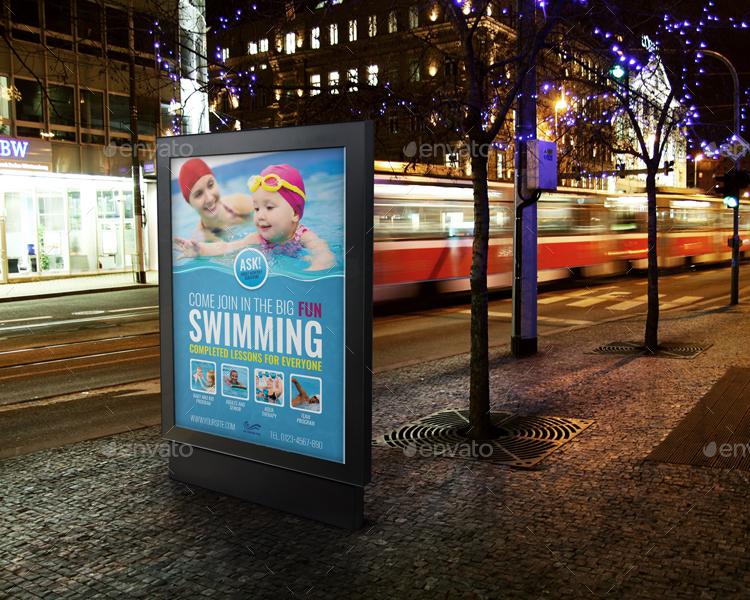 swimming billboard template