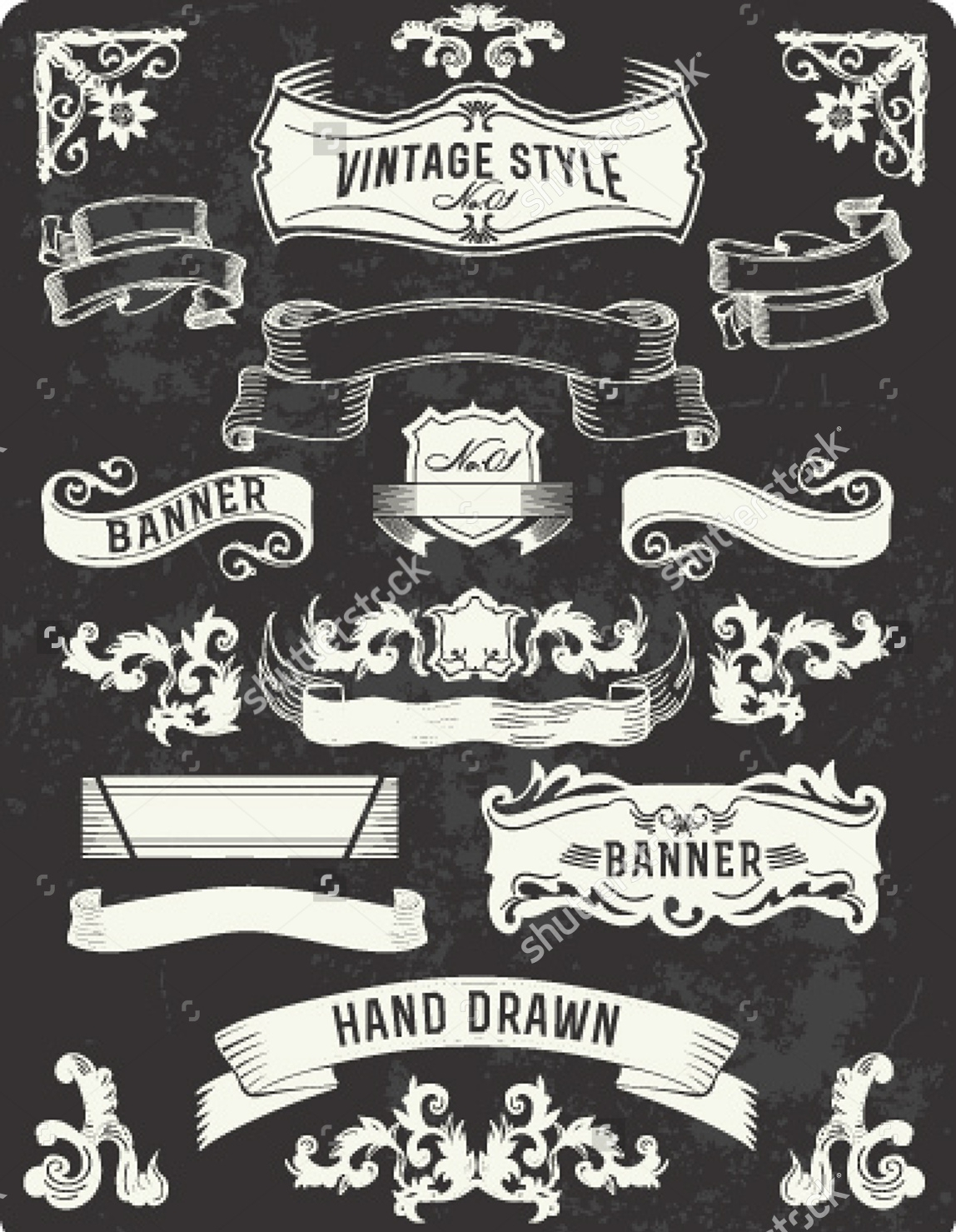 vintage banner typography