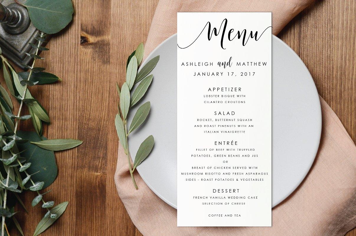 to go menu template free - 6 wedding menu ideas