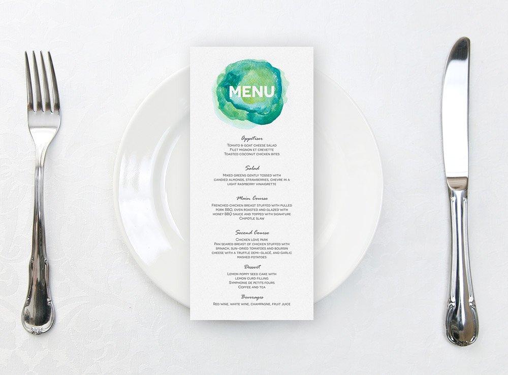 printable aqua watercolour wedding menu template 1