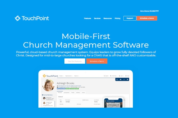 touchpoint church management software
