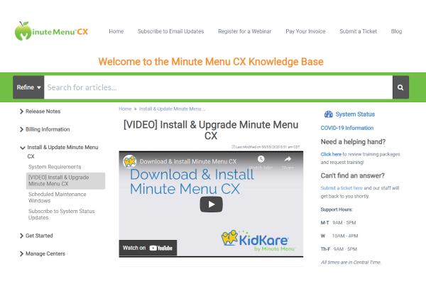 minute menu cx