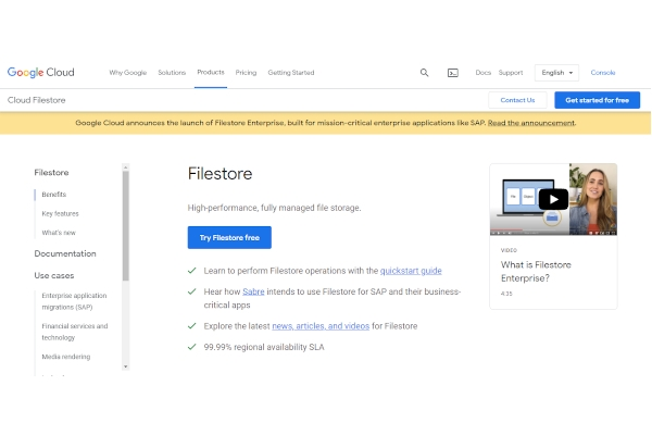 google cloud filestore