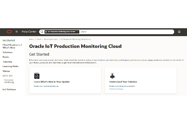 oracle iot production monitoring cloud